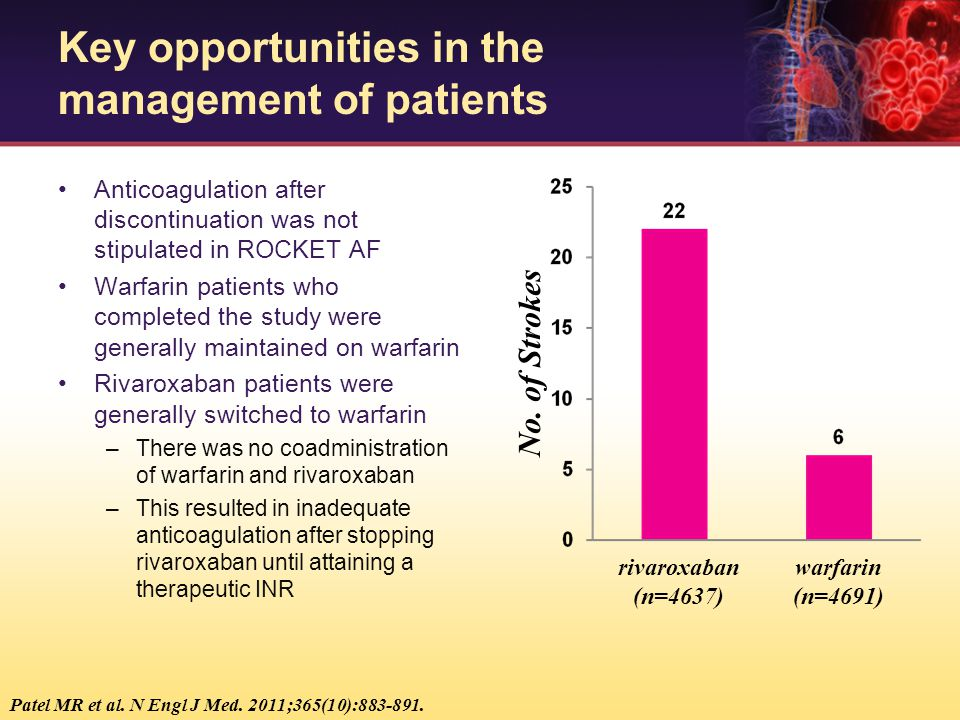 rivaroxaban (n=4637) warfarin (n=4691) No. of Strokes Anticoagulation after discontinuation was not stipulated in ROCKET AF Warfarin patients who comp