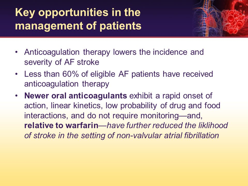 Anticoagulation therapy lowers the incidence and severity of AF stroke Less than 60% of eligible AF patients have received anticoagulation therapy New