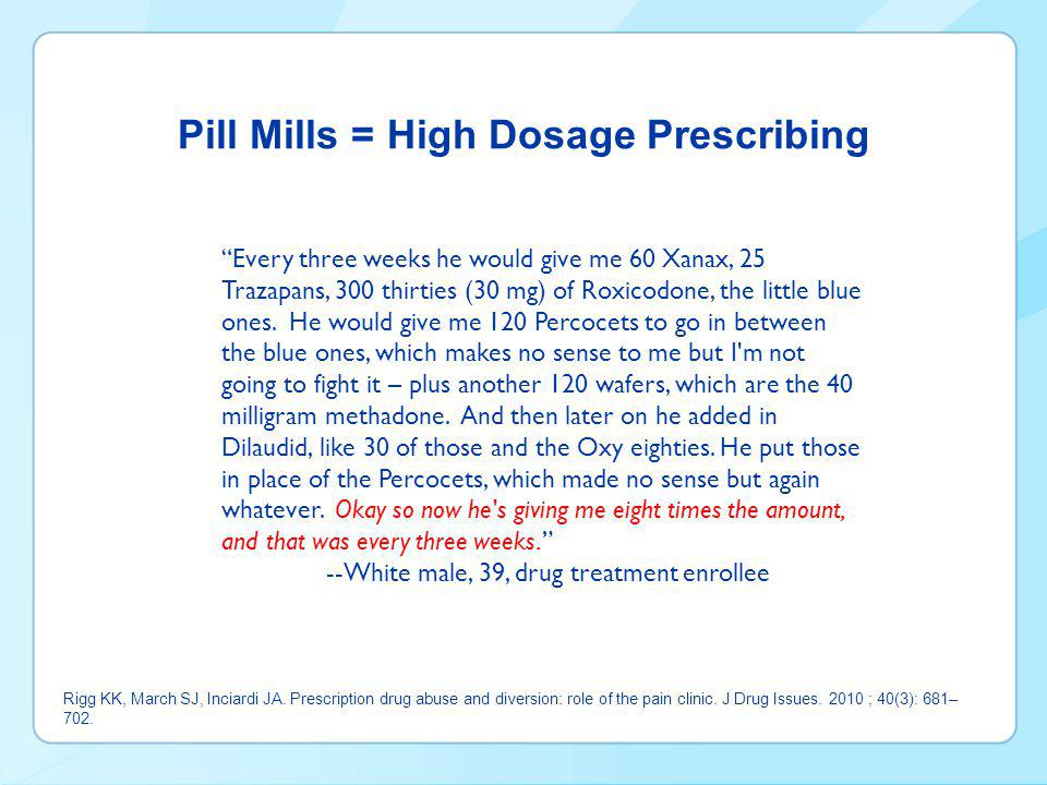 Pill Mills = High Dosage Prescribing Rigg KK, March SJ, Inciardi JA.