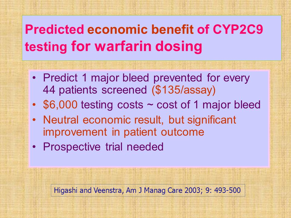 Predicted economic benefit of CYP2C9 testing for warfarin dosing Predict 1 major bleed prevented for every 44 patients screened ($135/assay) $6,000 te