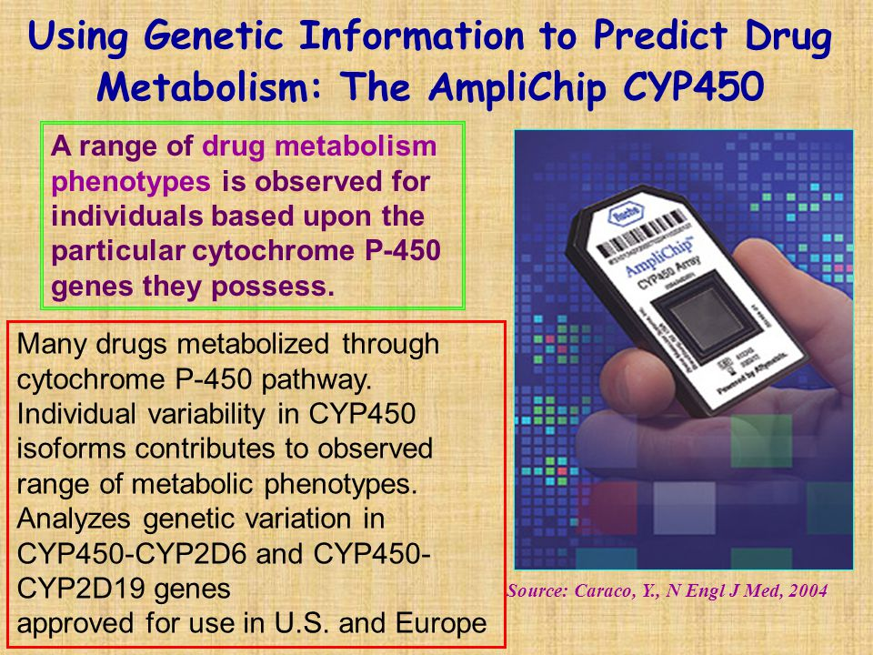 Using Genetic Information to Predict Drug Metabolism: The AmpliChip CYP450 Source: Caraco, Y., N Engl J Med, 2004 A range of drug metabolism phenotype