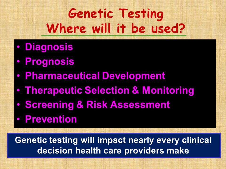 Genetic Testing Where will it be used? Diagnosis Prognosis Pharmaceutical Development Therapeutic Selection & Monitoring Screening & Risk Assessment P