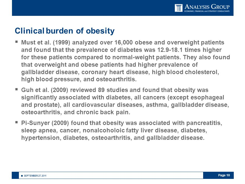 Page 10 ■ SEPTEMBER 27, 2011 Clinical burden of obesity  Must et al.