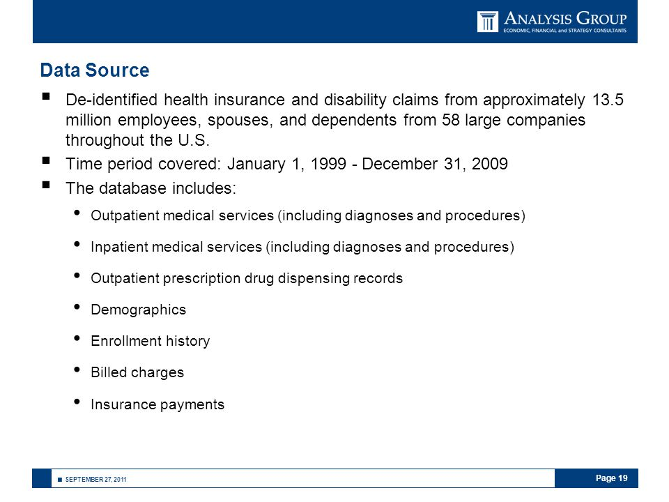 Page 19 ■ SEPTEMBER 27, 2011 Data Source  De-identified health insurance and disability claims from approximately 13.5 million employees, spouses, an