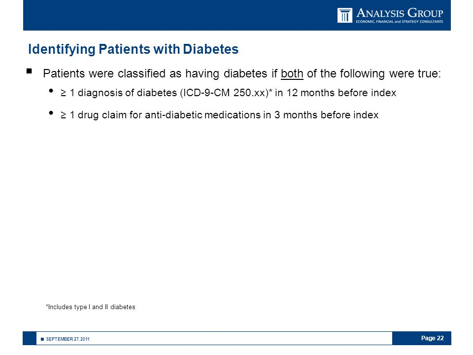 Page 22 ■ SEPTEMBER 27, 2011 Identifying Patients with Diabetes  Patients were classified as having diabetes if both of the following were true: ≥ 1 diagnosis of diabetes (ICD-9-CM 250.xx)* in 12 months before index ≥ 1 drug claim for anti-diabetic medications in 3 months before index *Includes type I and II diabetes