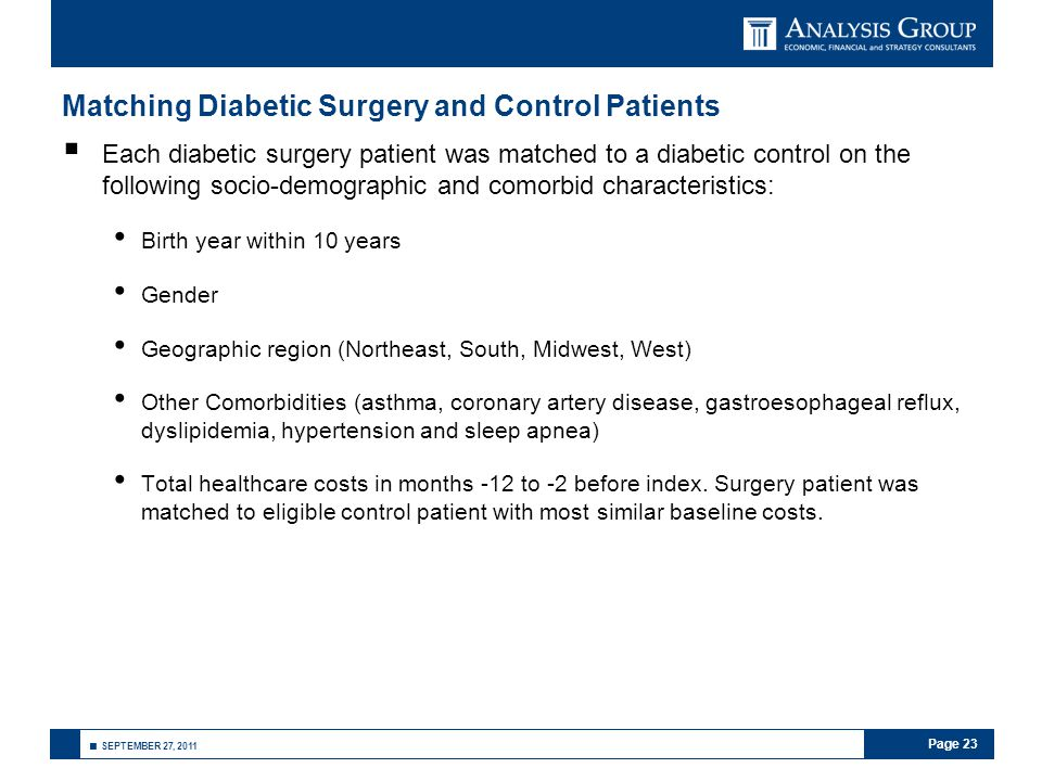 Page 23 ■ SEPTEMBER 27, 2011 Matching Diabetic Surgery and Control Patients  Each diabetic surgery patient was matched to a diabetic control on the following socio-demographic and comorbid characteristics: Birth year within 10 years Gender Geographic region (Northeast, South, Midwest, West) Other Comorbidities (asthma, coronary artery disease, gastroesophageal reflux, dyslipidemia, hypertension and sleep apnea) Total healthcare costs in months -12 to -2 before index.