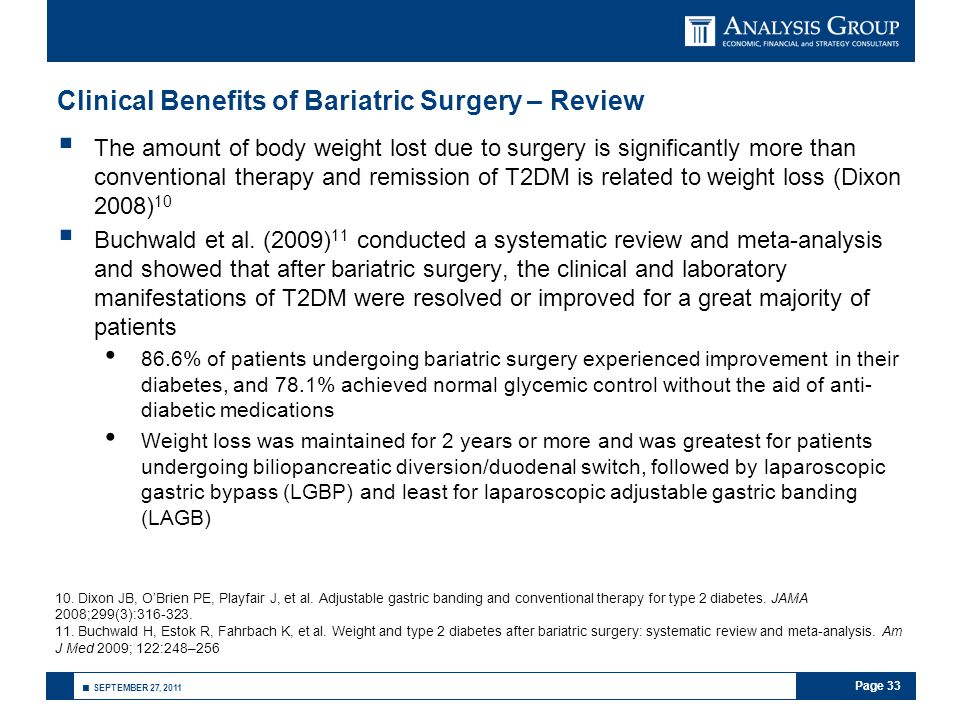 Page 33 ■ SEPTEMBER 27, 2011 Clinical Benefits of Bariatric Surgery – Review  The amount of body weight lost due to surgery is significantly more tha