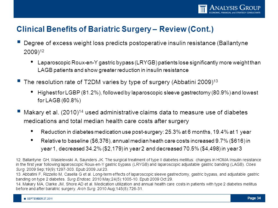 Page 34 ■ SEPTEMBER 27, 2011 Clinical Benefits of Bariatric Surgery – Review (Cont.)  Degree of excess weight loss predicts postoperative insulin res