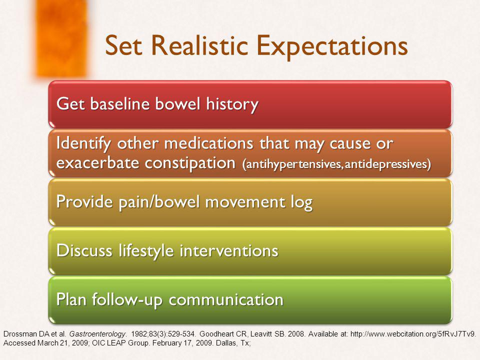 Set Realistic Expectations Get baseline bowel history Identify other medications that may cause or exacerbate constipation (antihypertensives, antidepressives) Provide pain/bowel movement log Discuss lifestyle interventions Plan follow-up communication Drossman DA et al.
