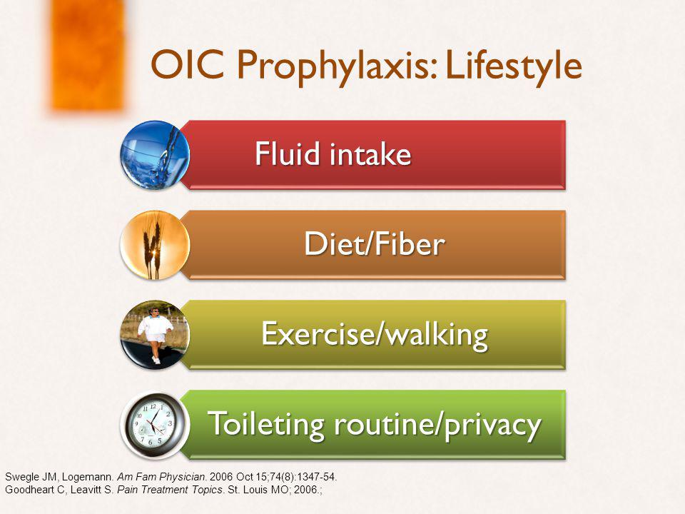 OIC Prophylaxis: Lifestyle Fluid intake Diet/Fiber Exercise/walking Toileting routine/privacy Swegle JM, Logemann.