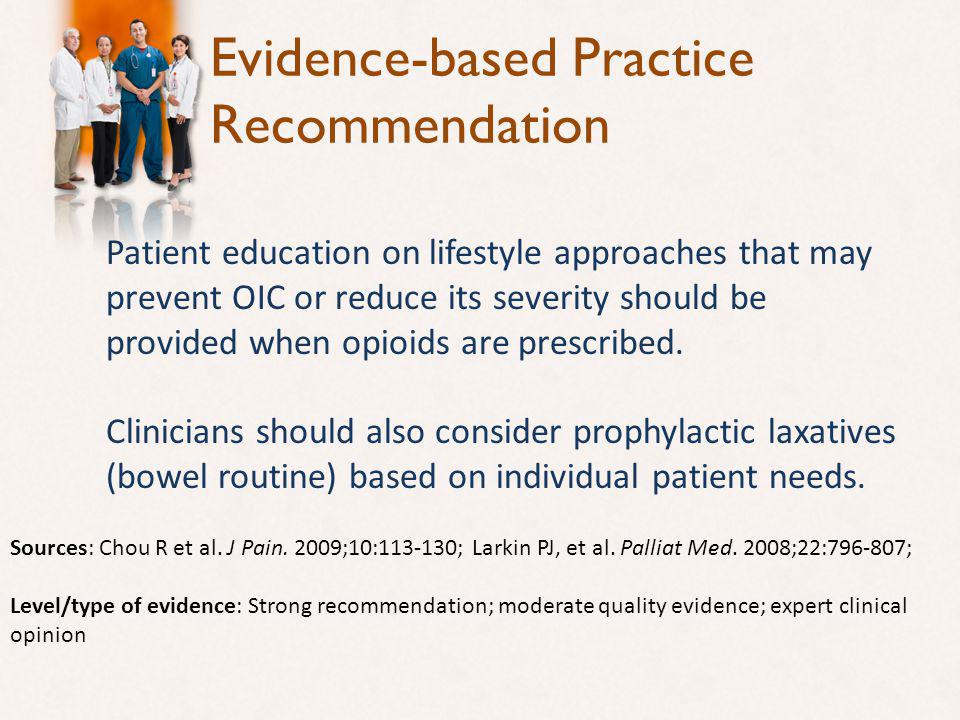 Evidence-based Practice Recommendation Patient education on lifestyle approaches that may prevent OIC or reduce its severity should be provided when opioids are prescribed.