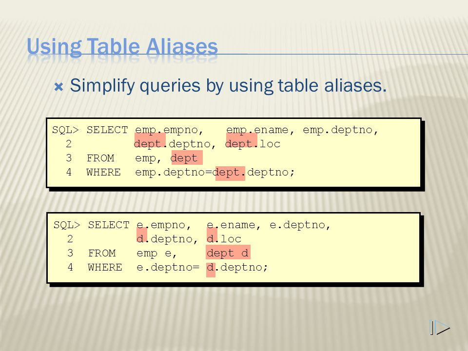  Simplify queries by using table aliases.