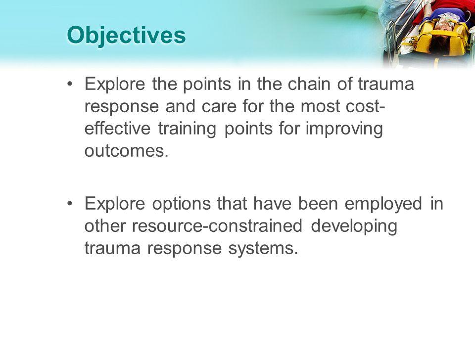 Trauma Care Event Self/ Bystander Pre-hospital care (transport) Emergency Department In-hospital (acute care + rehab) Post- hospital