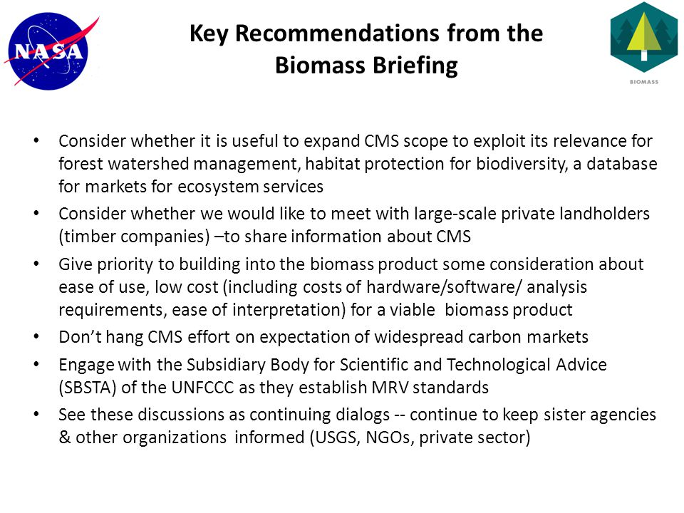 Consider whether it is useful to expand CMS scope to exploit its relevance for forest watershed management, habitat protection for biodiversity, a database for markets for ecosystem services Consider whether we would like to meet with large-scale private landholders (timber companies) –to share information about CMS Give priority to building into the biomass product some consideration about ease of use, low cost (including costs of hardware/software/ analysis requirements, ease of interpretation) for a viable biomass product Don't hang CMS effort on expectation of widespread carbon markets Engage with the Subsidiary Body for Scientific and Technological Advice (SBSTA) of the UNFCCC as they establish MRV standards See these discussions as continuing dialogs -- continue to keep sister agencies & other organizations informed (USGS, NGOs, private sector) Key Recommendations from the Biomass Briefing