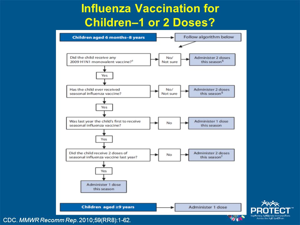 Influenza Vaccination for Children–1 or 2 Doses? CDC. MMWR Recomm Rep. 2010;59(RR8):1-62.