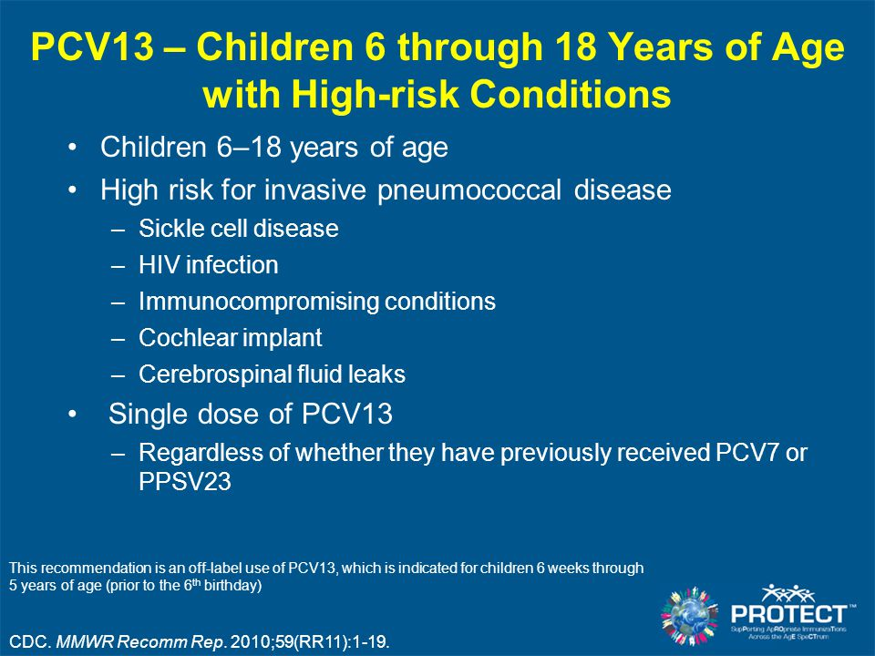 PCV13 – Children 6 through 18 Years of Age with High-risk Conditions Children 6–18 years of age High risk for invasive pneumococcal disease –Sickle ce