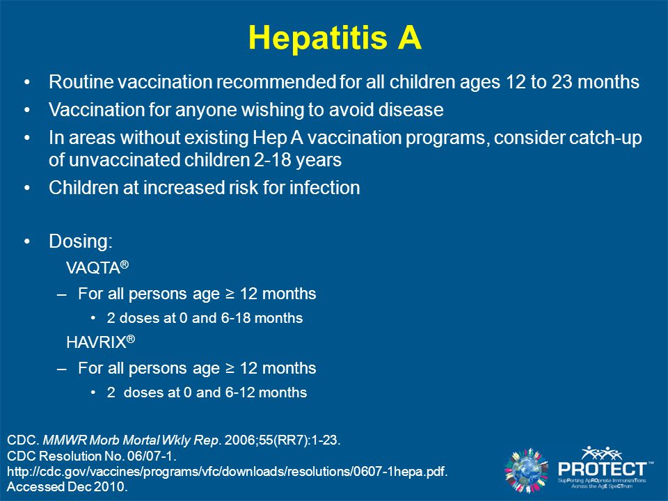 Hepatitis A CDC. MMWR Morb Mortal Wkly Rep. 2006;55(RR7):1-23. CDC Resolution No. 06/07-1. http://cdc.gov/vaccines/programs/vfc/downloads/resolutions/