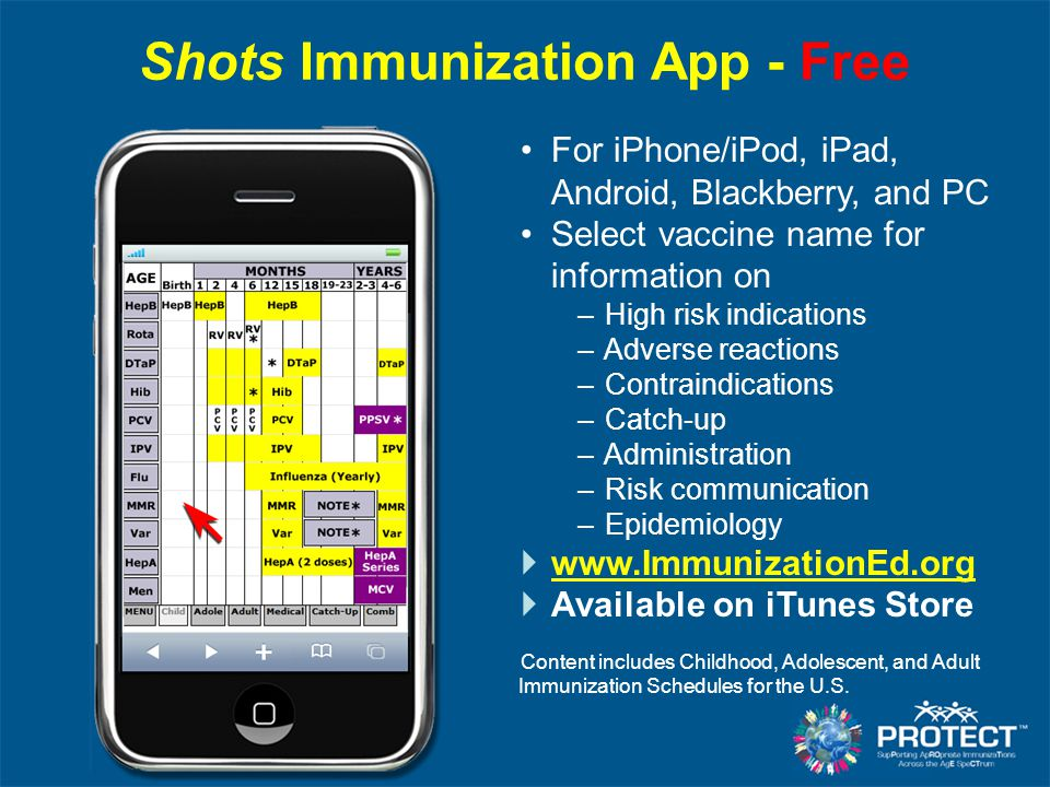 Shots Immunization App - Free For iPhone/iPod, iPad, Android, Blackberry, and PC Select vaccine name for information on – High risk indications – Adve