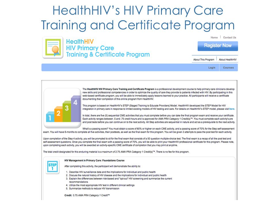 HealthHIV's HIV Primary Care Training and Certificate Program