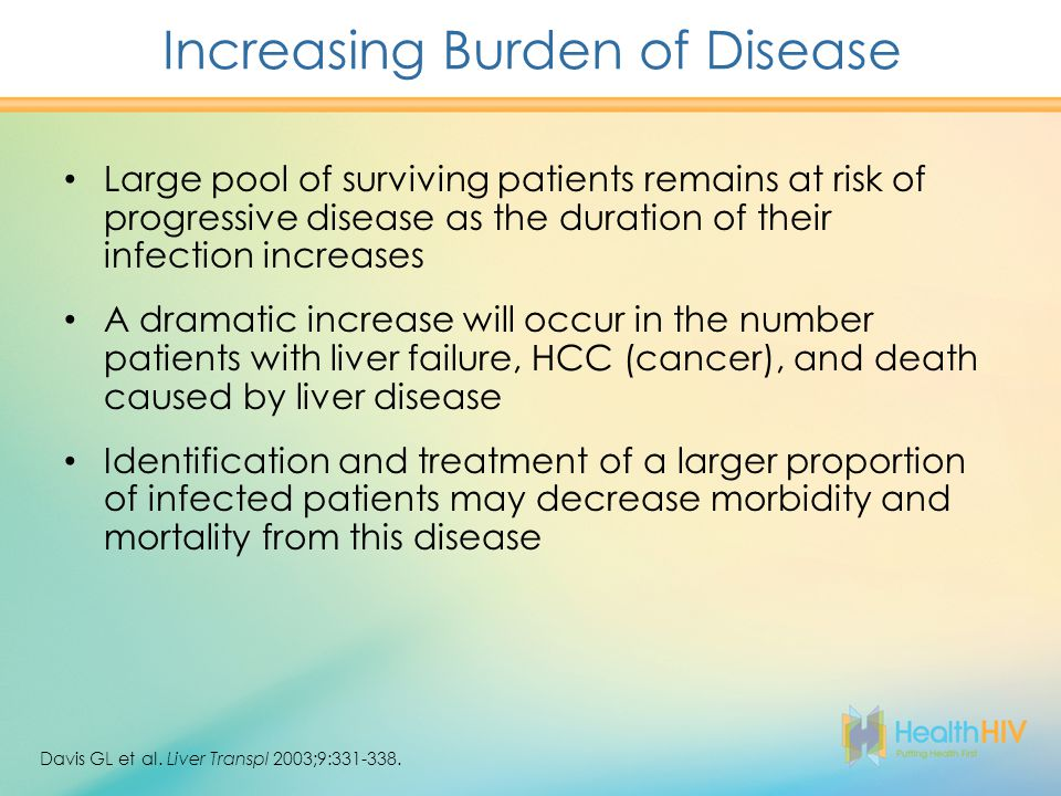 Increasing Burden of Disease Large pool of surviving patients remains at risk of progressive disease as the duration of their infection increases A dramatic increase will occur in the number patients with liver failure, HCC (cancer), and death caused by liver disease Identification and treatment of a larger proportion of infected patients may decrease morbidity and mortality from this disease Davis GL et al.