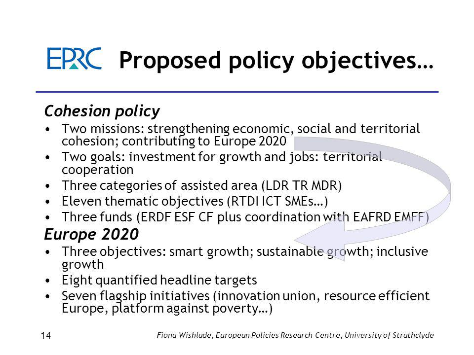 Proposed policy objectives… Cohesion policy Two missions: strengthening economic, social and territorial cohesion; contributing to Europe 2020 Two goals: investment for growth and jobs: territorial cooperation Three categories of assisted area (LDR TR MDR) Eleven thematic objectives (RTDI ICT SMEs…) Three funds (ERDF ESF CF plus coordination with EAFRD EMFF) Europe 2020 Three objectives: smart growth; sustainable growth; inclusive growth Eight quantified headline targets Seven flagship initiatives (innovation union, resource efficient Europe, platform against poverty…) Fiona Wishlade, European Policies Research Centre, University of Strathclyde 14