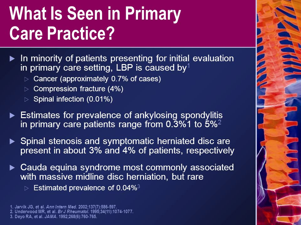 What Is Seen in Primary Care Practice?  In minority of patients presenting for initial evaluation in primary care setting, LBP is caused by 1  Cance