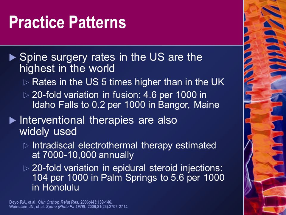 Practice Patterns  Spine surgery rates in the US are the highest in the world  Rates in the US 5 times higher than in the UK  20-fold variation in