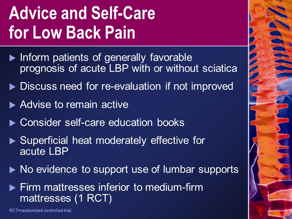 Advice and Self-Care for Low Back Pain  Inform patients of generally favorable prognosis of acute LBP with or without sciatica  Discuss need for re-