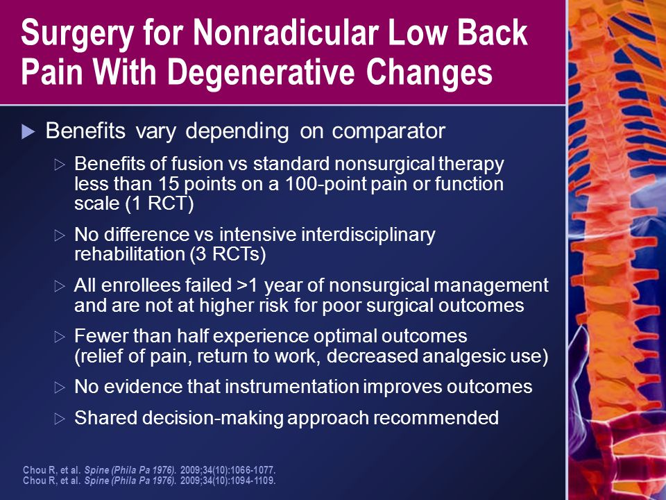 Surgery for Nonradicular Low Back Pain With Degenerative Changes  Benefits vary depending on comparator  Benefits of fusion vs standard nonsurgical
