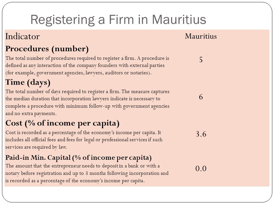 Registering a Firm in Mauritius Indicator Mauritius Procedures (number) The total number of procedures required to register a firm.