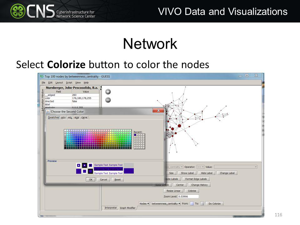 Network VIVO Data and Visualizations Select Colorize button to color the nodes 116
