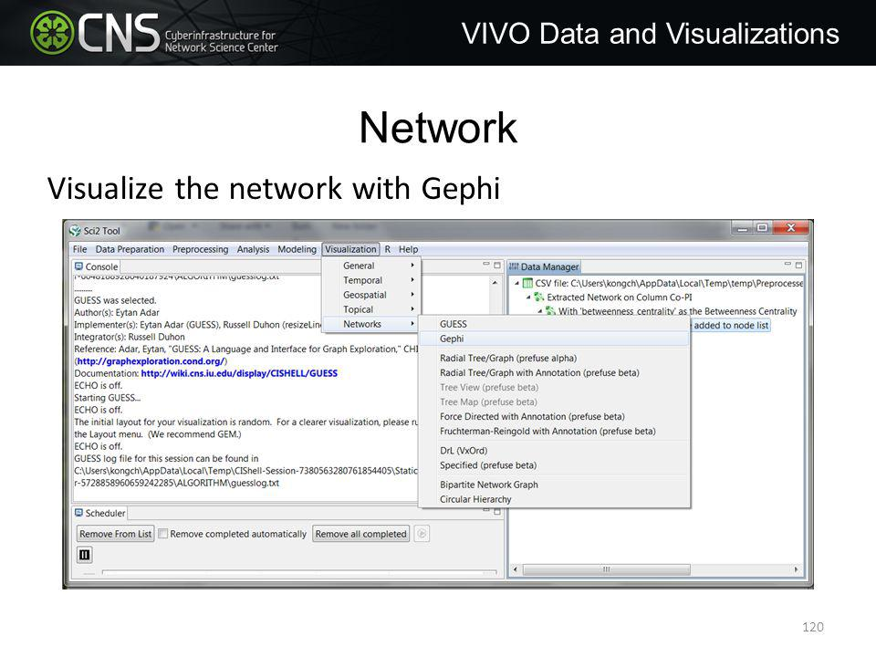 Network VIVO Data and Visualizations Visualize the network with Gephi 120