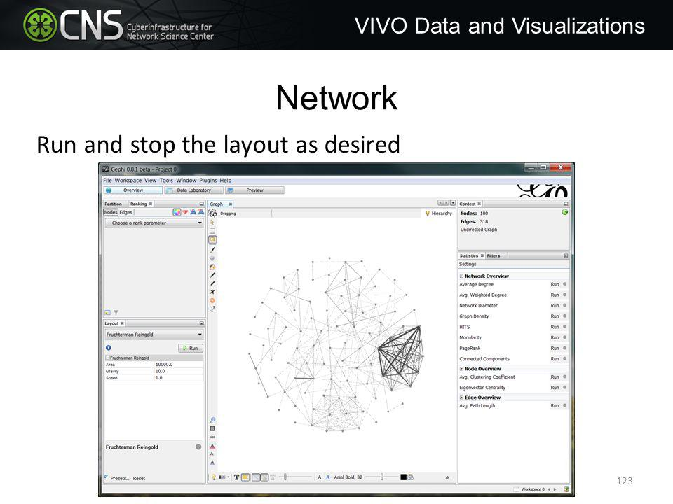 Network VIVO Data and Visualizations Run and stop the layout as desired 123