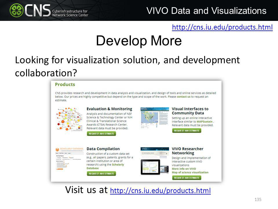 Develop More VIVO Data and Visualizations Looking for visualization solution, and development collaboration.