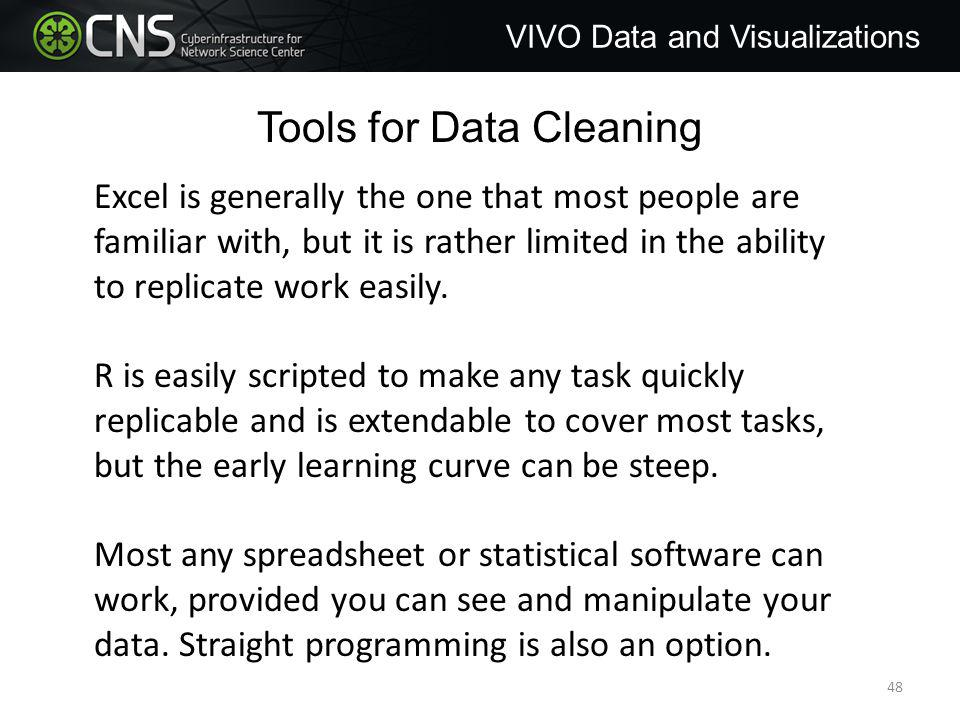 Tools for Data Cleaning Excel is generally the one that most people are familiar with, but it is rather limited in the ability to replicate work easily.