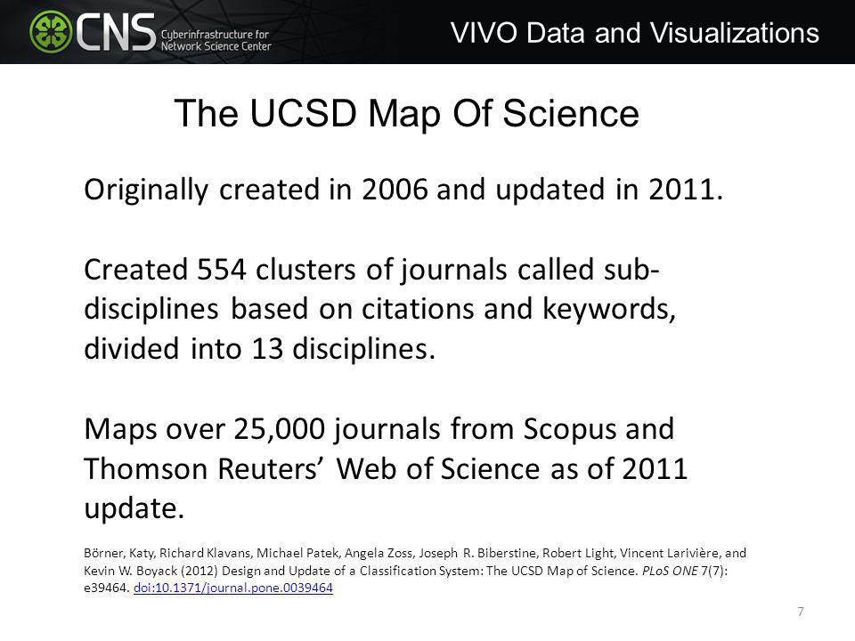 Map of Science VIVO Data and Visualizations Visualize the result with Map of Science via Journals plugin.