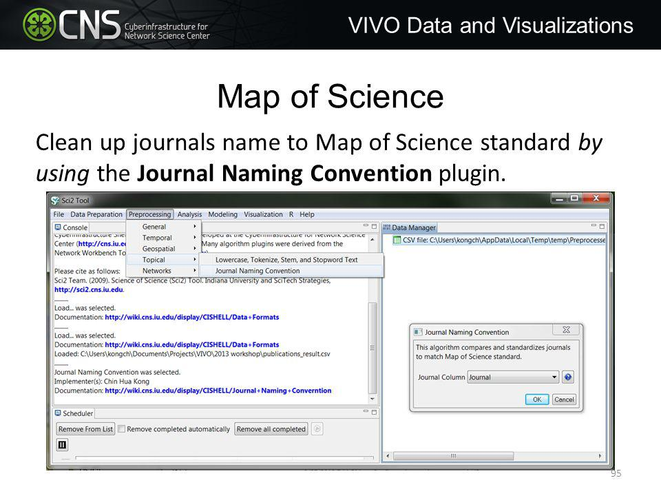 Map of Science VIVO Data and Visualizations Clean up journals name to Map of Science standard by using the Journal Naming Convention plugin.