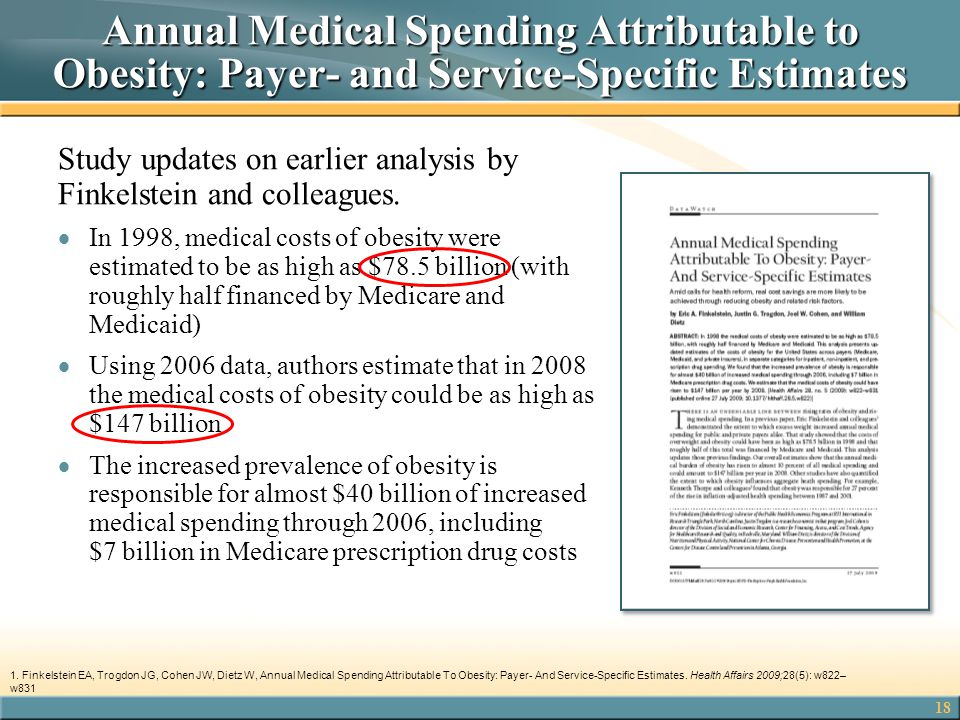 18 Annual Medical Spending Attributable to Obesity: Payer- and Service-Specific Estimates Study updates on earlier analysis by Finkelstein and colleag
