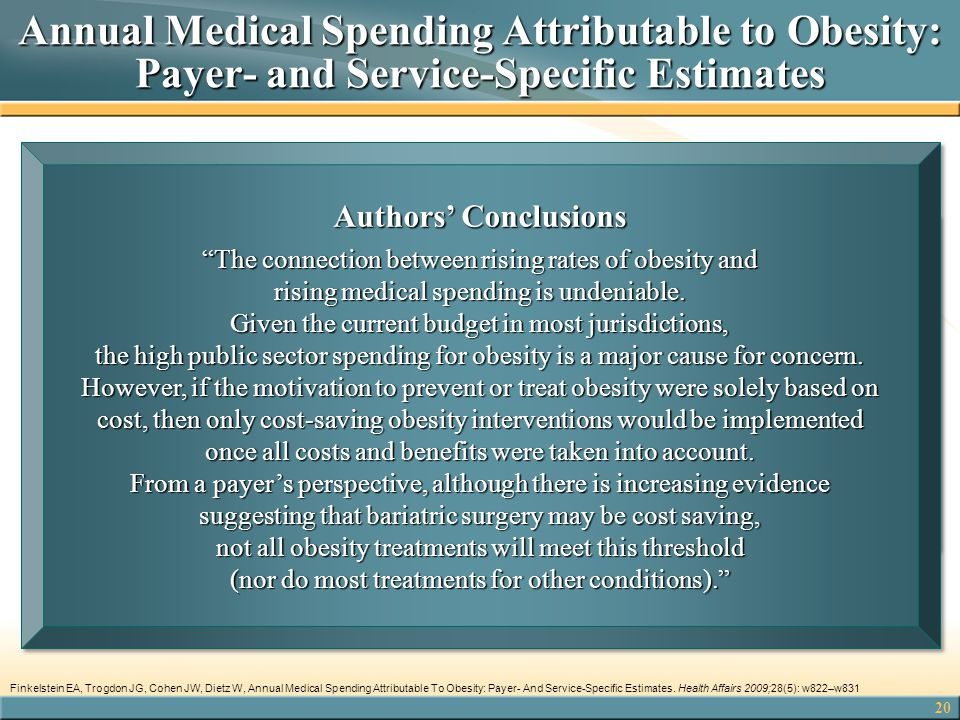 20 Annual Medical Spending Attributable to Obesity: Payer- and Service-Specific Estimates  2006 payer-specific estimates by type of service—inpatient