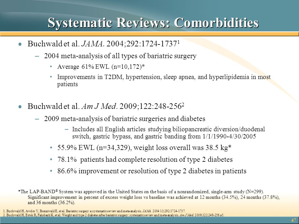 47 Systematic Reviews: Comorbidities Systematic Reviews: Comorbidities  Buchwald et al. JAMA. 2004;292:1724-1737 1 – 2004 meta-analysis of all types