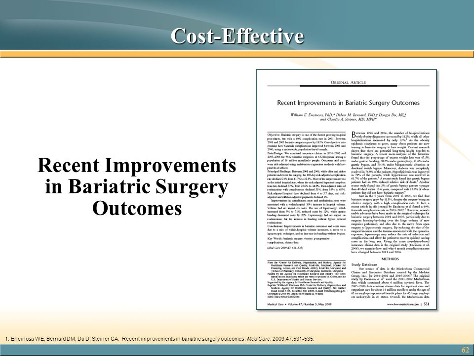 62 Recent Improvements in Bariatric Surgery Outcomes 1.