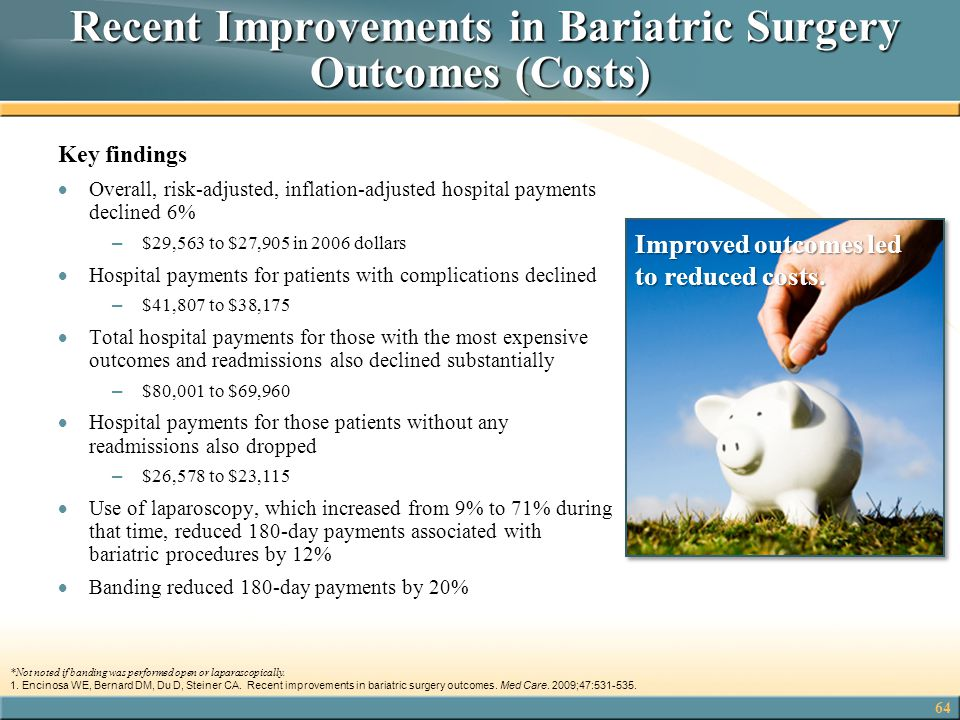 64 Recent Improvements in Bariatric Surgery Outcomes (Costs) Recent Improvements in Bariatric Surgery Outcomes (Costs) Key findings  Overall, risk-ad