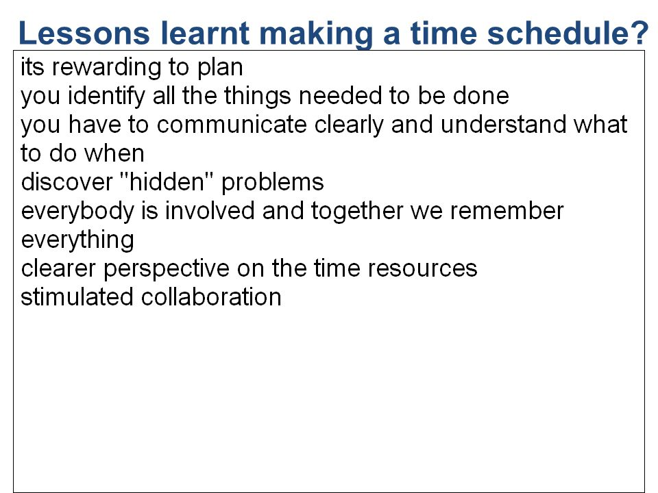 Lessons learnt making a time schedule? 21