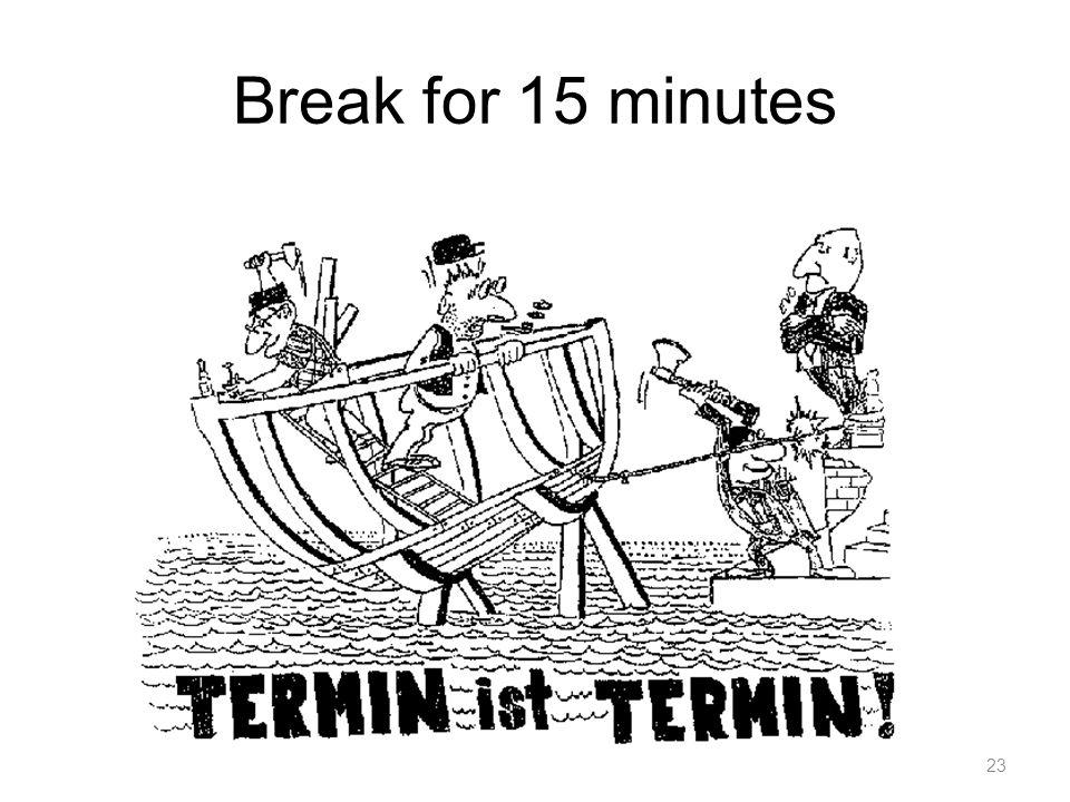 Break for 15 minutes 23