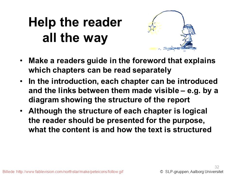 Help the reader all the way Make a readers guide in the foreword that explains which chapters can be read separately In the introduction, each chapter