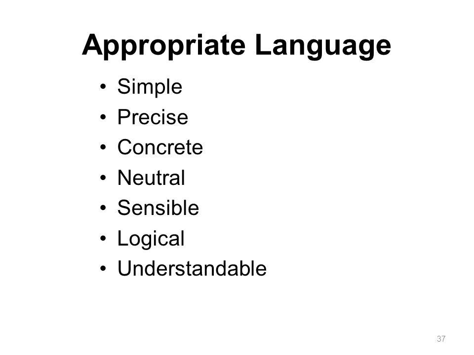 Appropriate Language Simple Precise Concrete Neutral Sensible Logical Understandable 37