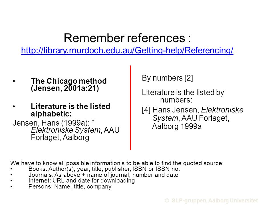 Remember references : http://library.murdoch.edu.au/Getting-help/Referencing/ http://library.murdoch.edu.au/Getting-help/Referencing/ The Chicago method (Jensen, 2001a:21) Literature is the listed alphabetic: Jensen, Hans (1999a): Elektroniske System, AAU Forlaget, Aalborg By numbers [2] Literature is the listed by numbers: [4] Hans Jensen, Elektroniske System, AAU Forlaget, Aalborg 1999a © SLP-gruppen, Aalborg Universitet Billede: home6.inet.tele.dk/aamsk/husk_z.gif We have to know all possible information s to be able to find the quoted source: Books: Author(s), year, title, publisher, ISBN or ISSN no.