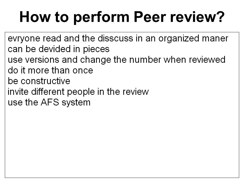 How to perform Peer review? 50