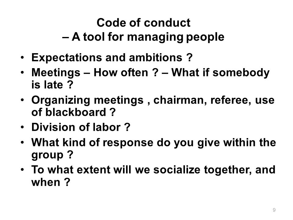 Code of conduct – A tool for managing people Expectations and ambitions .
