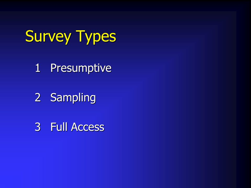Survey Types 1Presumptive 2Sampling 3Full Access